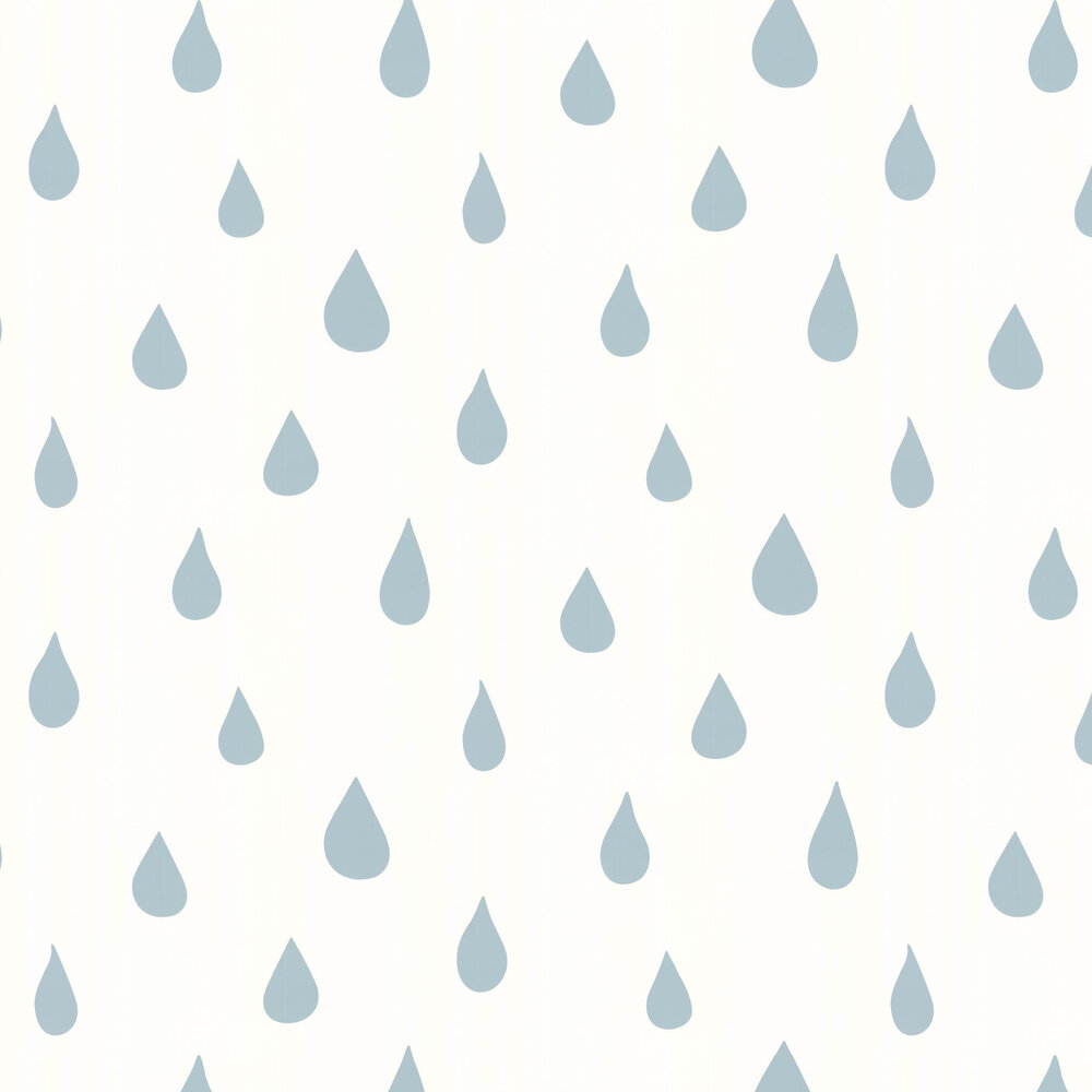 Hibou Home Raindrops B/W Ice Blue / White Wallpaper - Product code: HH01103
