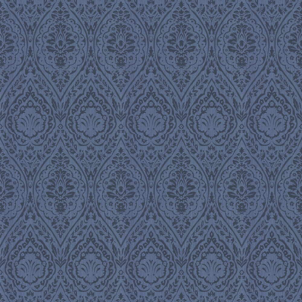 Westminster Damask Wallpaper - Midnight Blue - by Architects Paper