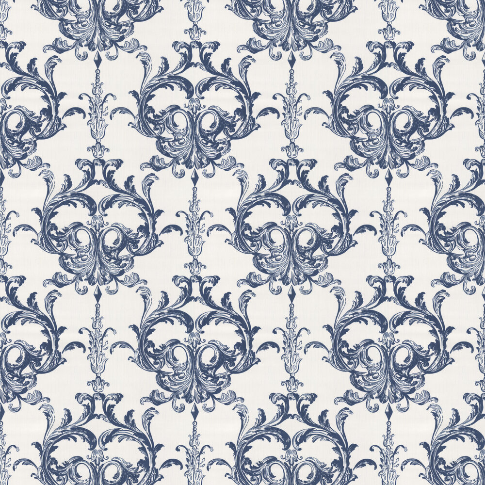 Blenheim Damask Wallpaper - Midnight Blue - by Architects Paper