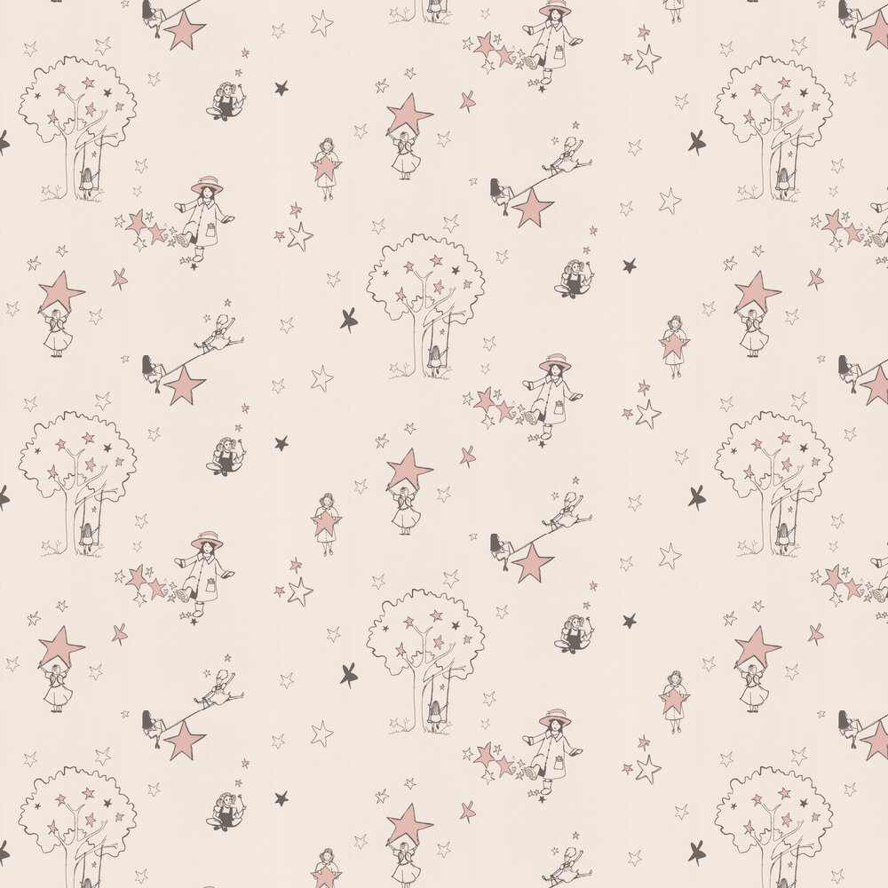 Catch a Star Wallpaper - Cream and Pink - by Katie Bourne Interiors