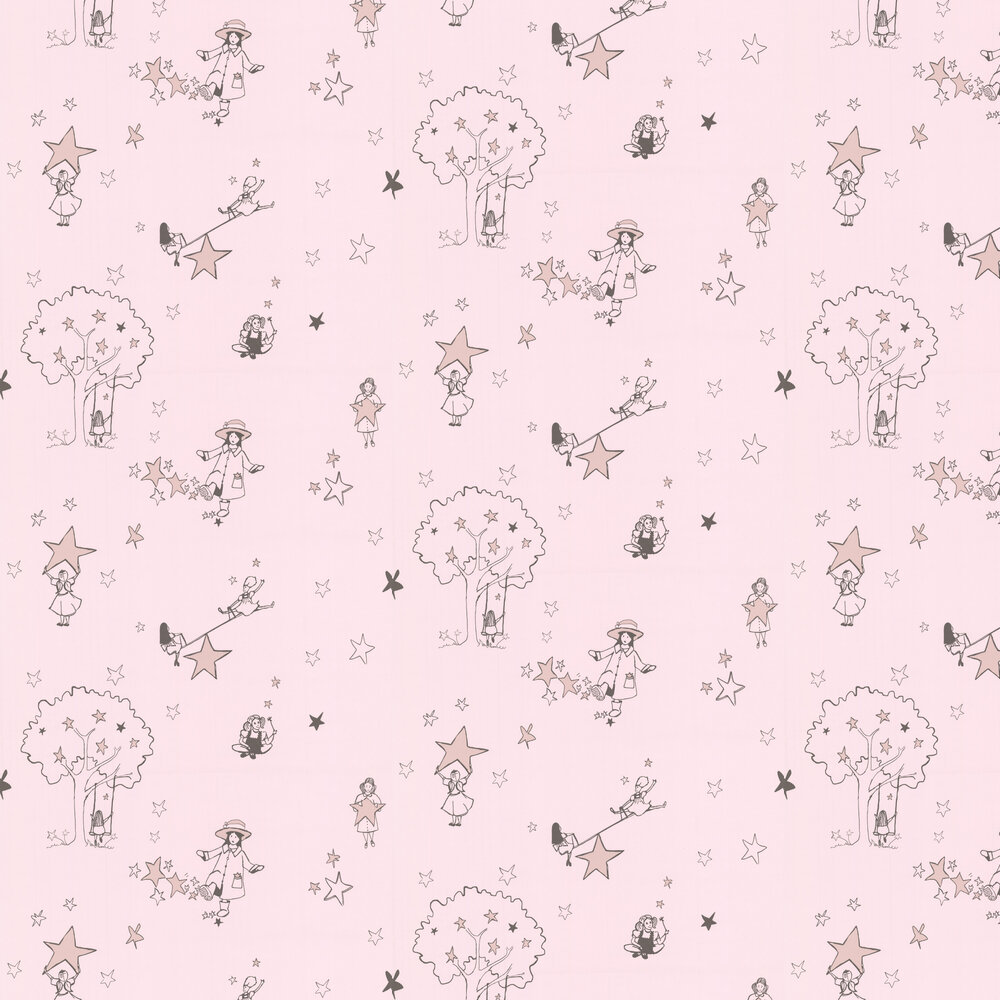 Catch a Star Wallpaper - Pink - by Katie Bourne Interiors