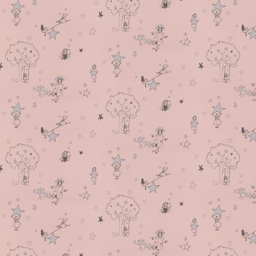 Katie Bourne Interiors Catch a Star Pink and Silver Wallpaper - Product code: G5 Catch