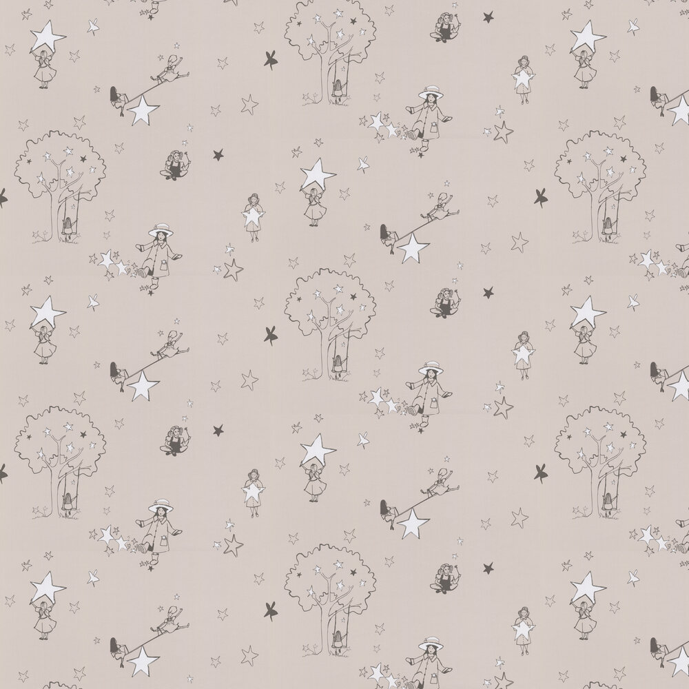 Catch a Star Wallpaper - Slate and White - by Katie Bourne Interiors