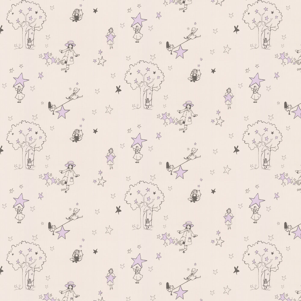 Catch a Star Wallpaper - Cream and Purple  - by Katie Bourne Interiors