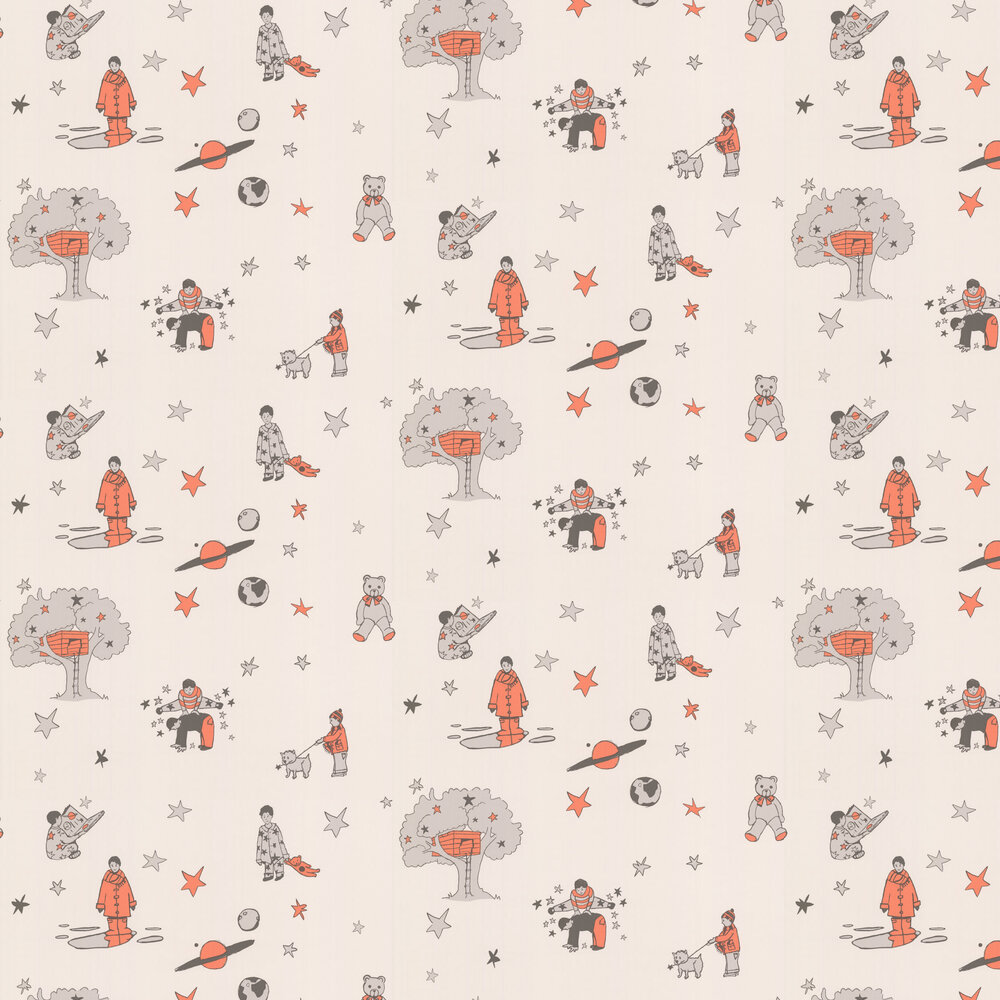 Once Upon a Star Wallpaper - Cream and Orange - by Katie Bourne Interiors