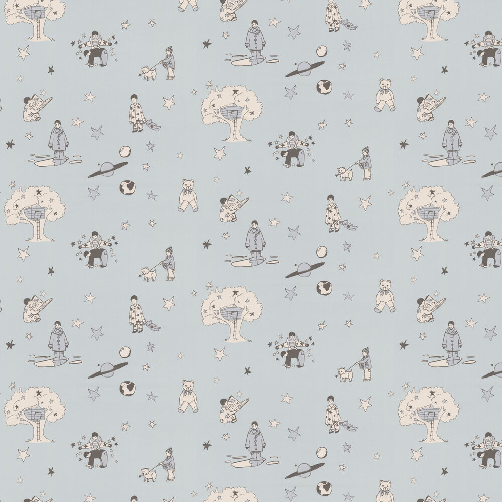Once Upon a Star Wallpaper - Blue and Silver - by Katie Bourne Interiors