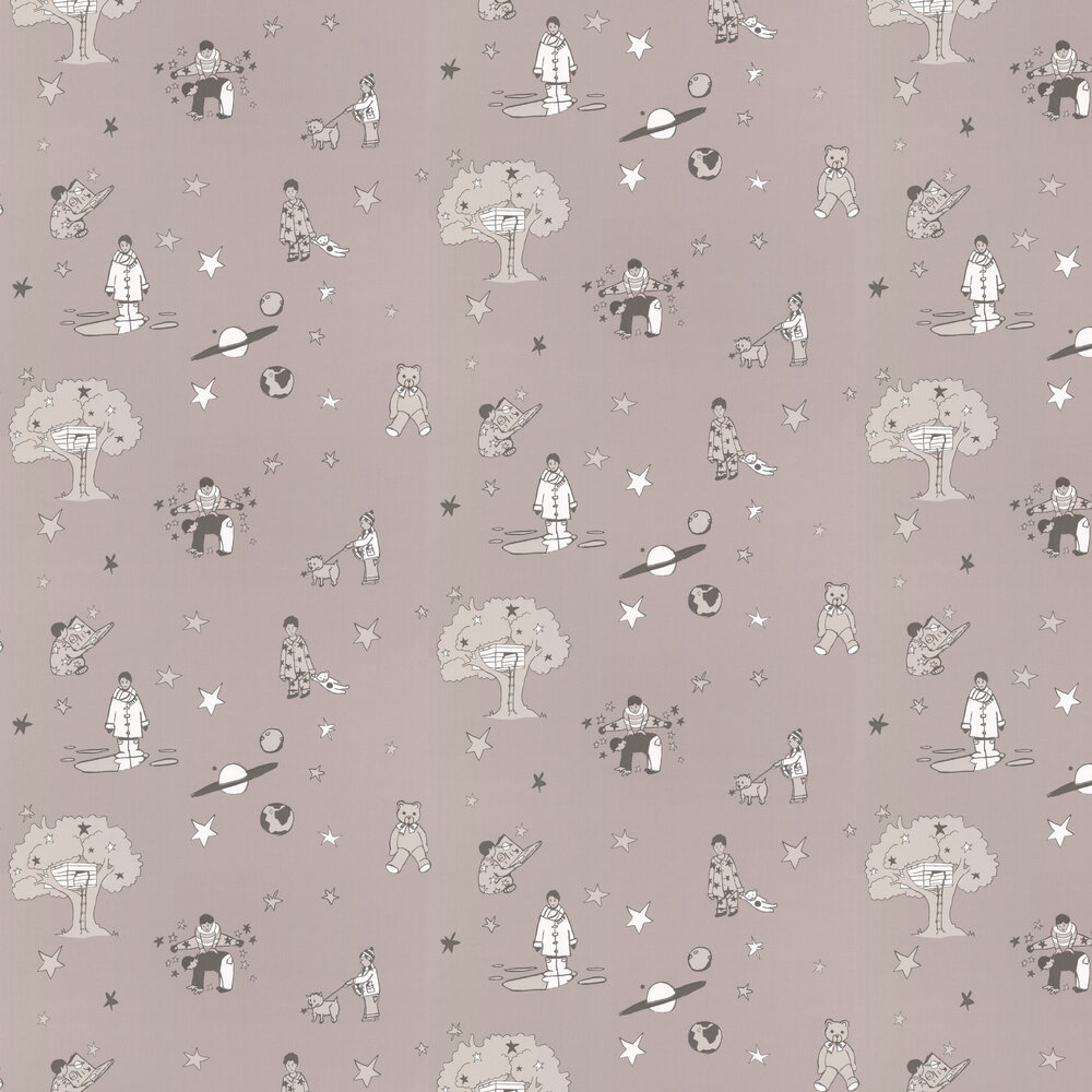 Once Upon a Star Wallpaper - Grey and White - by Katie Bourne Interiors