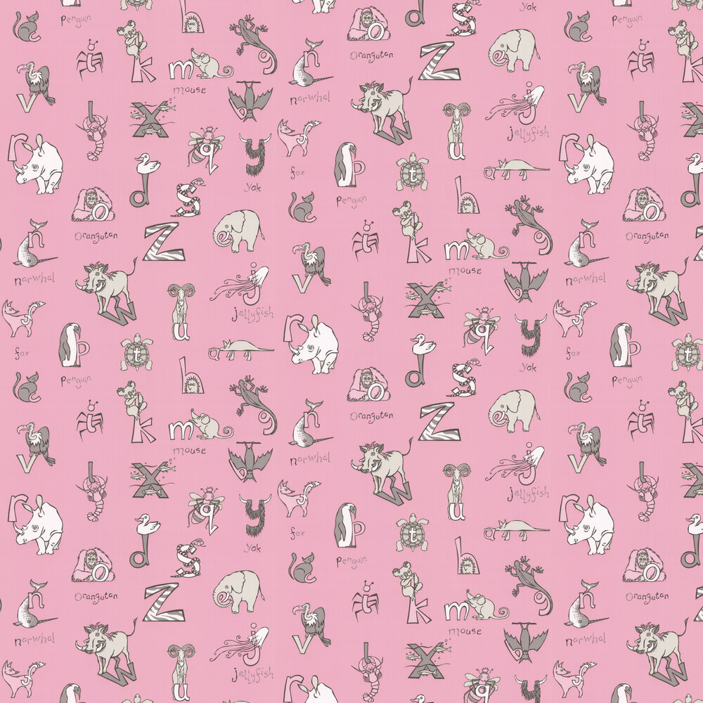 Albany Animal Alphabet Fresh Pink Wallpaper - Product code: KC2012