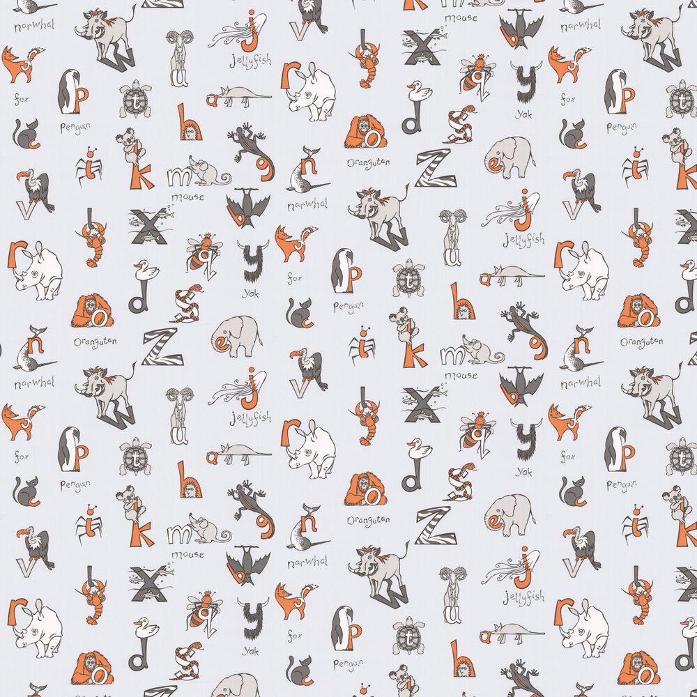 Albany Animal Alphabet Grey Wallpaper - Product code: KC2013
