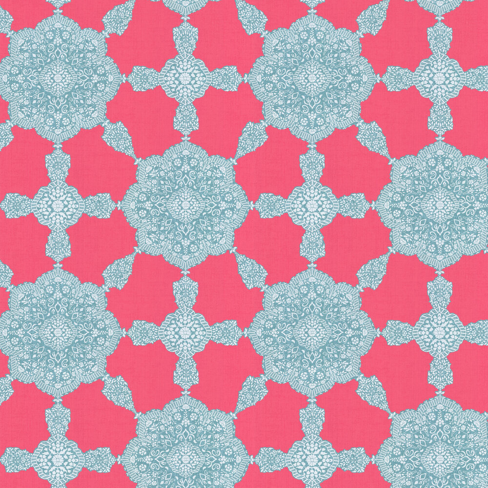 Thibaut Medallion Paisley Pink / Turquoise Wallpaper - Product code: T88726
