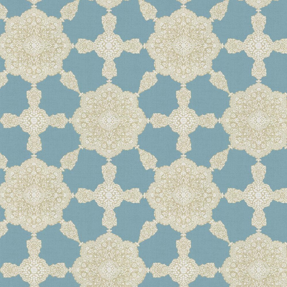 Thibaut Medallion Paisley Aqua / Beige Wallpaper - Product code: T88728