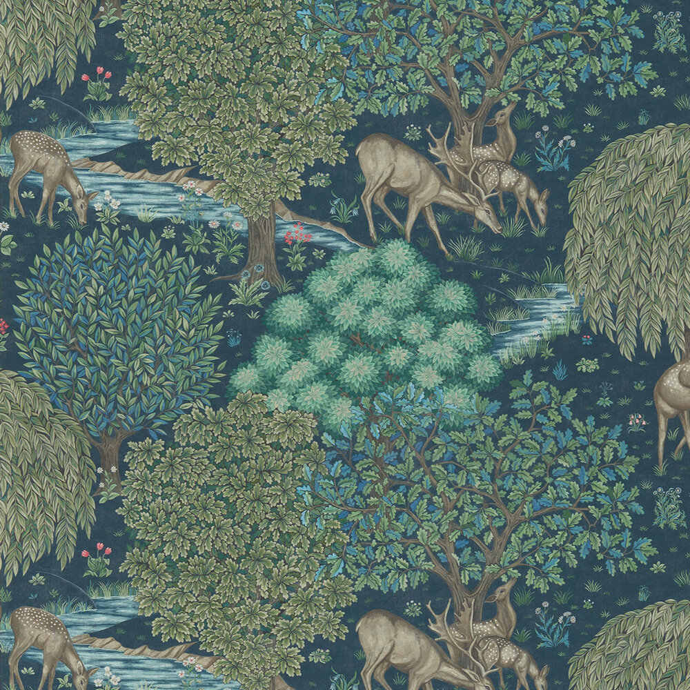 The Brook Wallpaper - Navy - by Morris