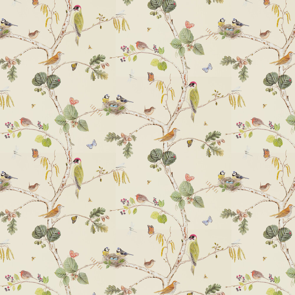 Woodland Chorus Wallpaper - Cream - by Sanderson