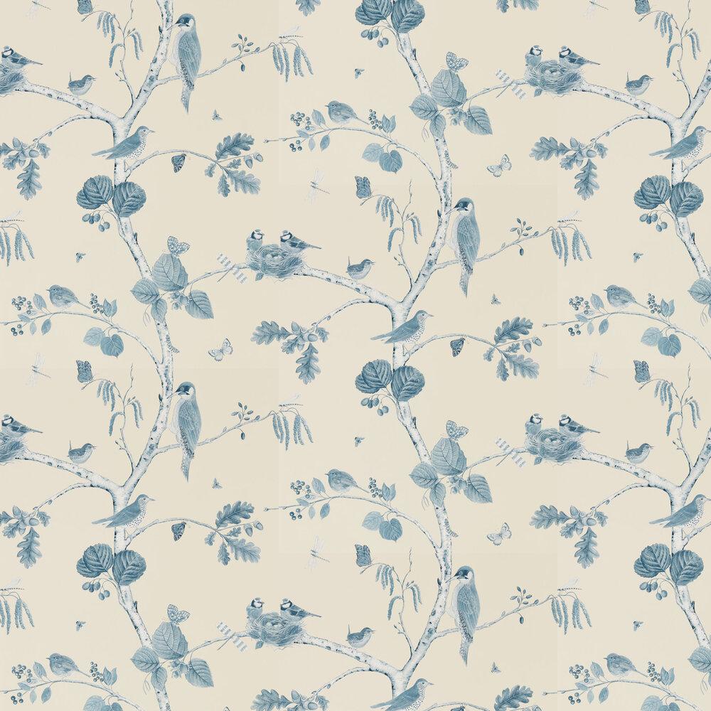 Woodland Chorus Wallpaper - Indigo - by Sanderson