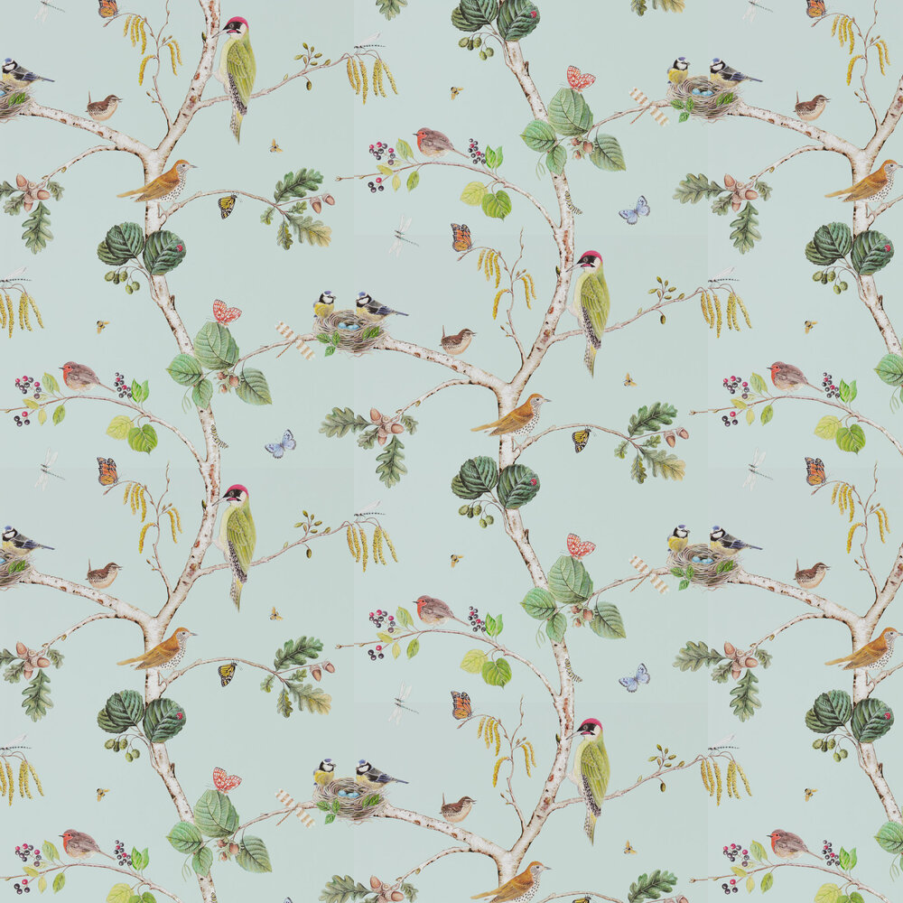 Woodland Chorus Wallpaper - Sky Blue - by Sanderson