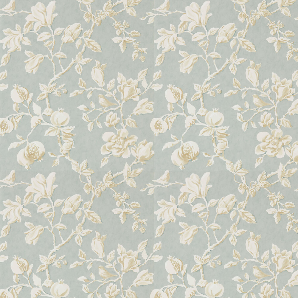 Magnolia & Pomegranate Wallpaper - Grey Blue and Parchment - by Sanderson