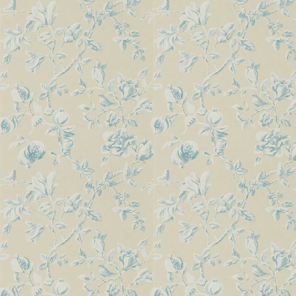 Magnolia & Pomegranate Wallpaper - Parchment and Sky Blue - by Sanderson