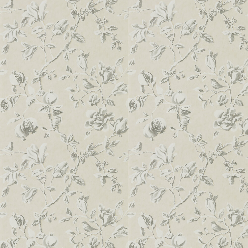 Magnolia & Pomegranate Wallpaper - Ivory and Charcoal - by Sanderson