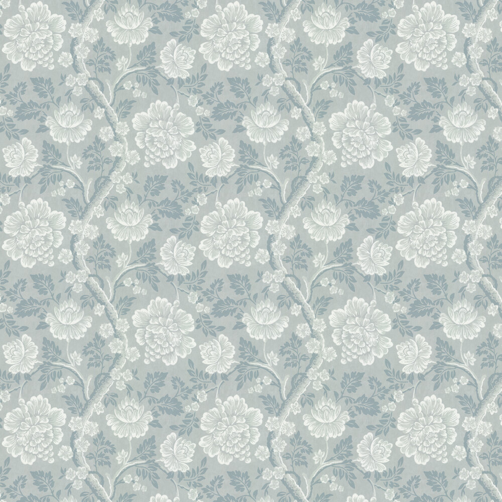 Gustav Wallpaper - Blue - by Little Greene