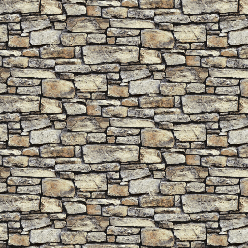 Cornish Stone Wallpaper - Brown - by Arthouse