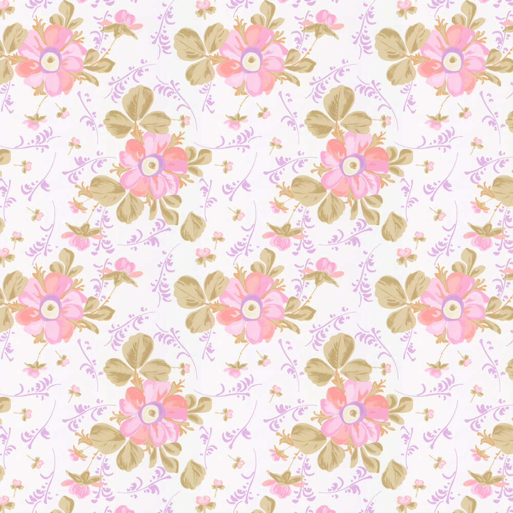Paintery Floral Wallpaper - White - by Eijffinger