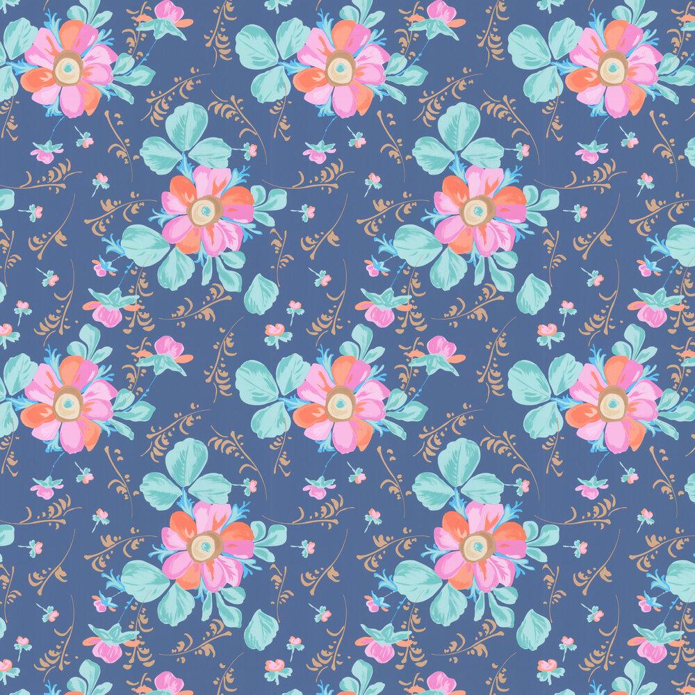 Paintery Floral Wallpaper - Blue  - by Eijffinger