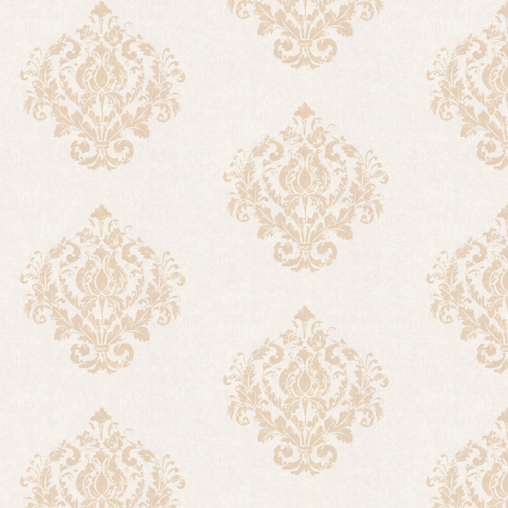 Damask Motif Wallpaper - Sand - by Casadeco