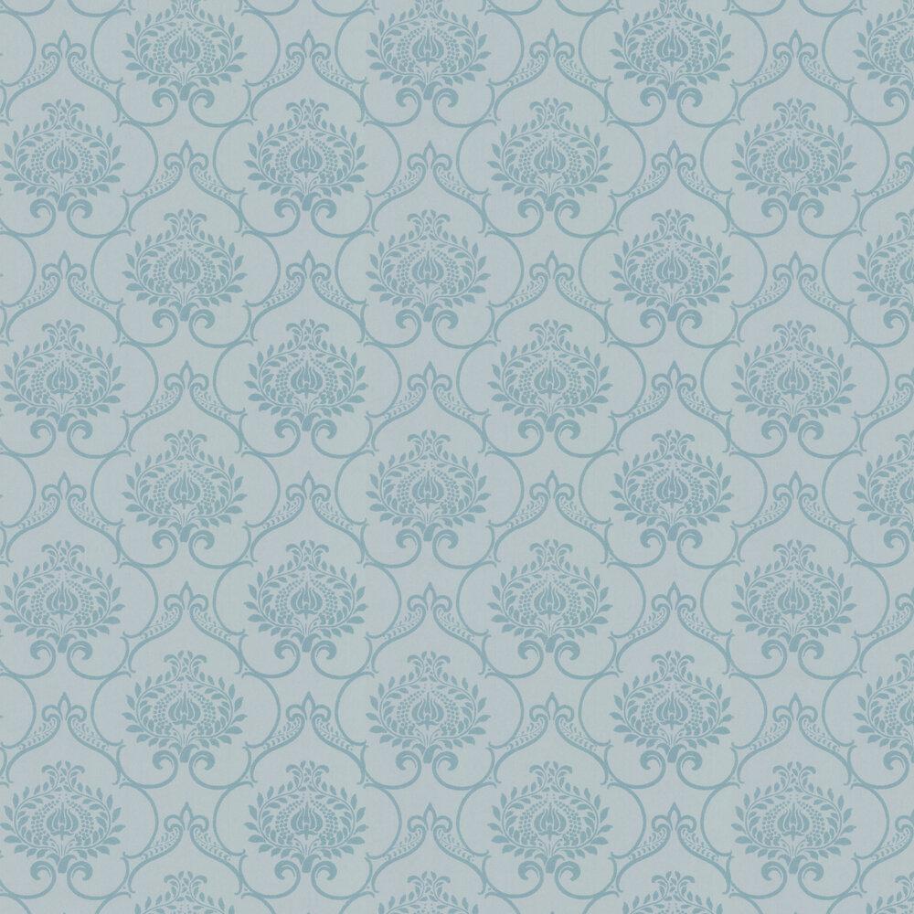 Glitter Damask Wallpaper - Aqua - by Casadeco