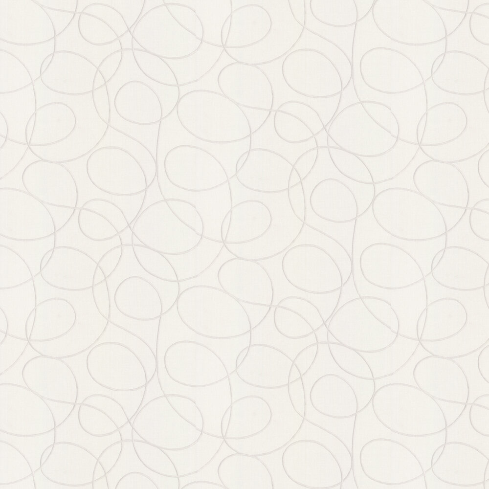 Embroidered Wallpaper - White - by Casadeco