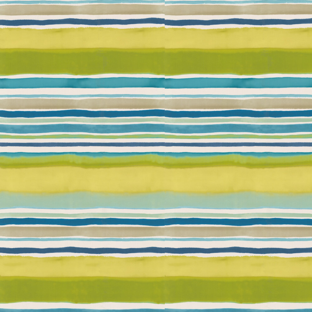 Clarke & Clarke Sunrise Stripe Aqua / Citrus Wallpaper - Product code: W0076/01