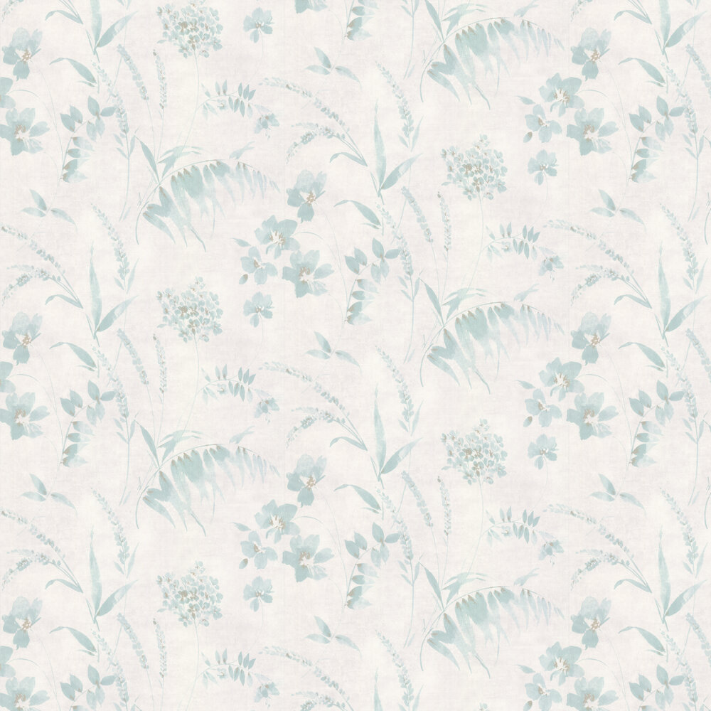 Distressed Floral By Casadeco Aqua Wallpaper Wallpaper Direct