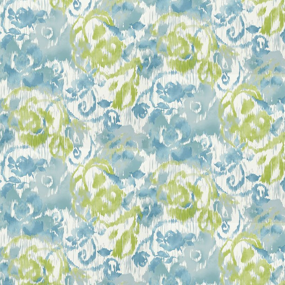 Waterford Floral Wallpaper - Aqua - by Thibaut