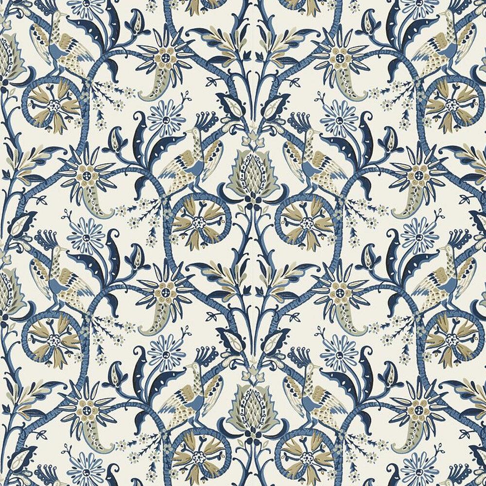 Peacock Garden Wallpaper - Blue - by Thibaut