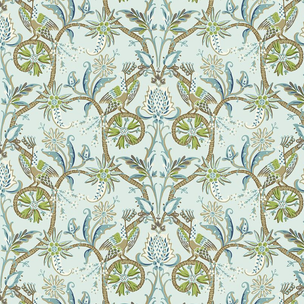 Peacock Garden Wallpaper - Aqua - by Thibaut