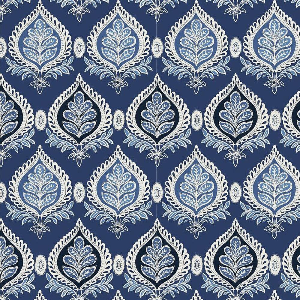 Midland Wallpaper - Navy - by Thibaut