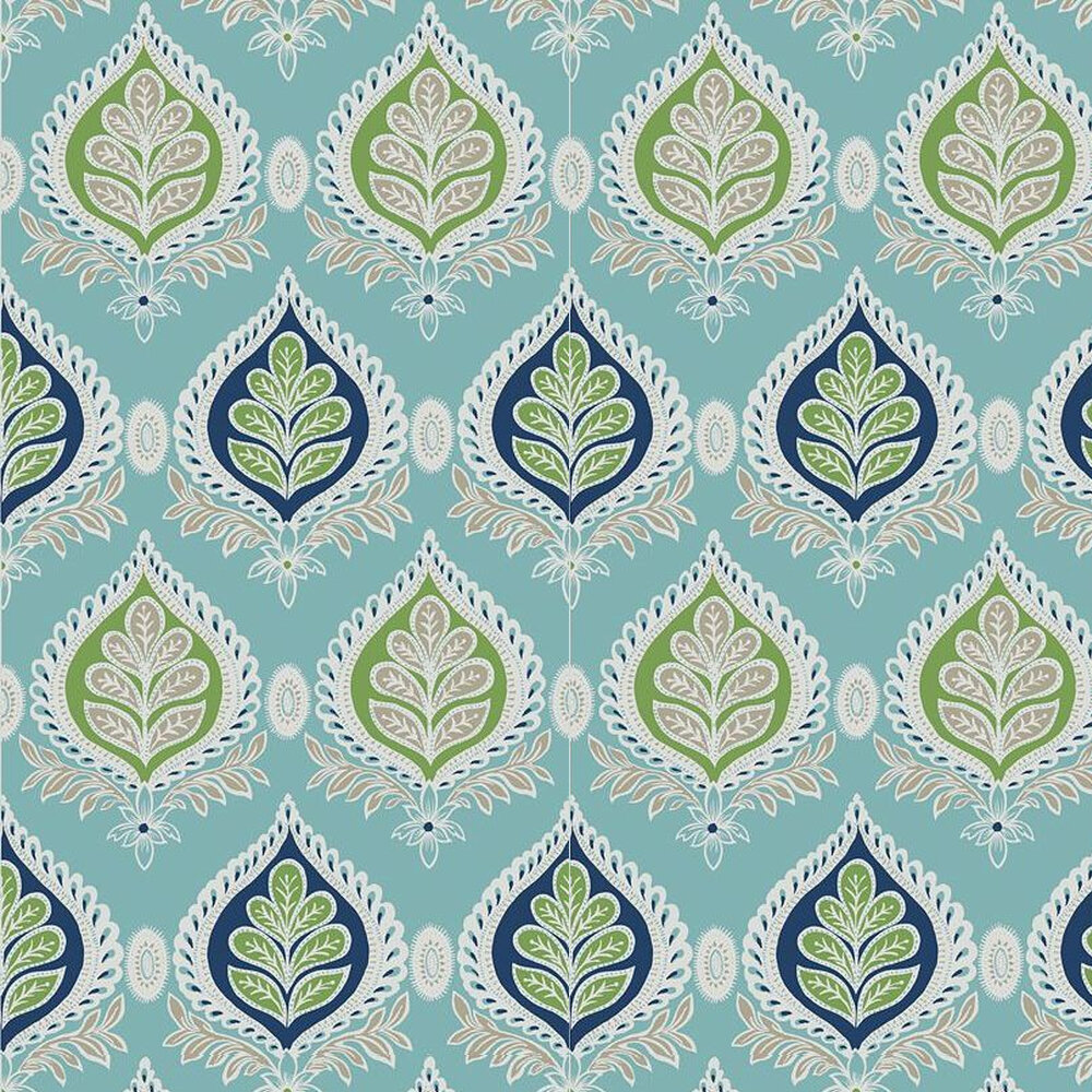 Midland Wallpaper - Blue / Green - by Thibaut
