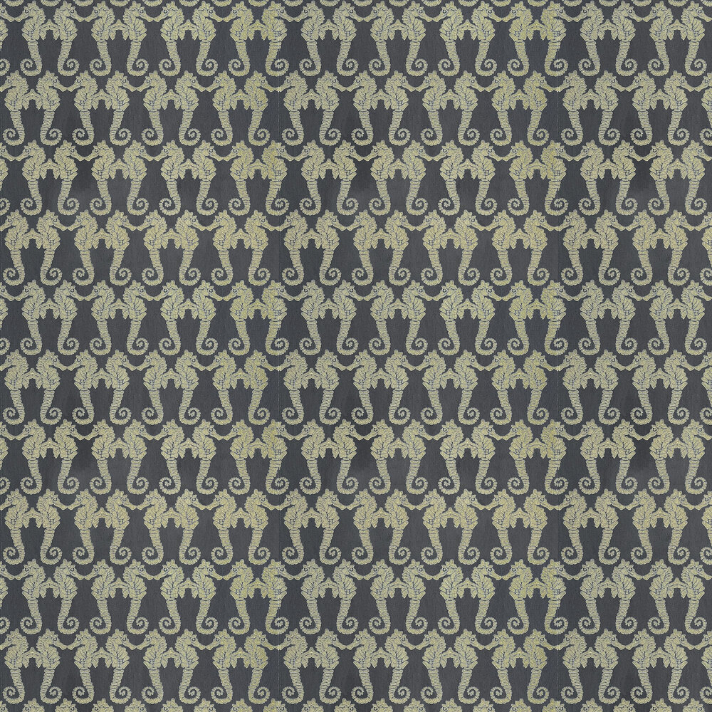 Seahorse Charcoal Wallpaper - Charcoal Gold - by Barneby Gates