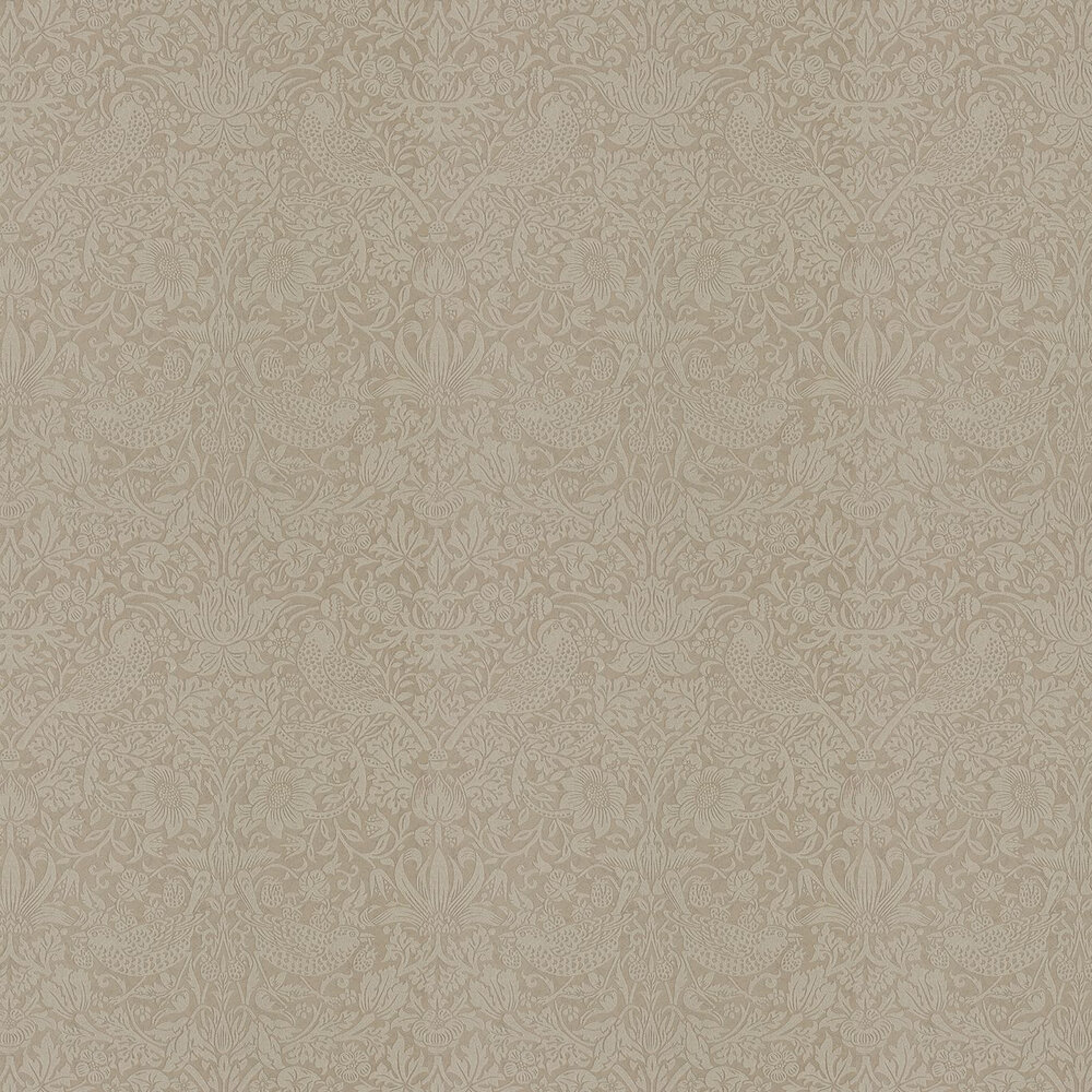 Pure Strawberry Thief Wallpaper - Taupe /Gilver - by Morris