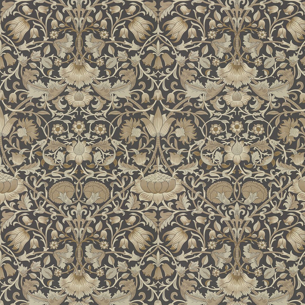 Pure Lodden Wallpaper - Charcoal / Gold - by Morris