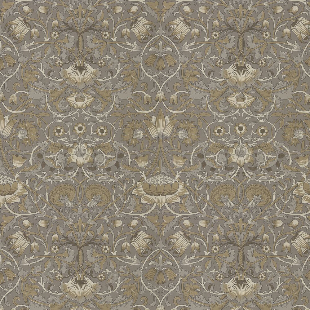 Pure Lodden Wallpaper - Taupe / Gold - by Morris