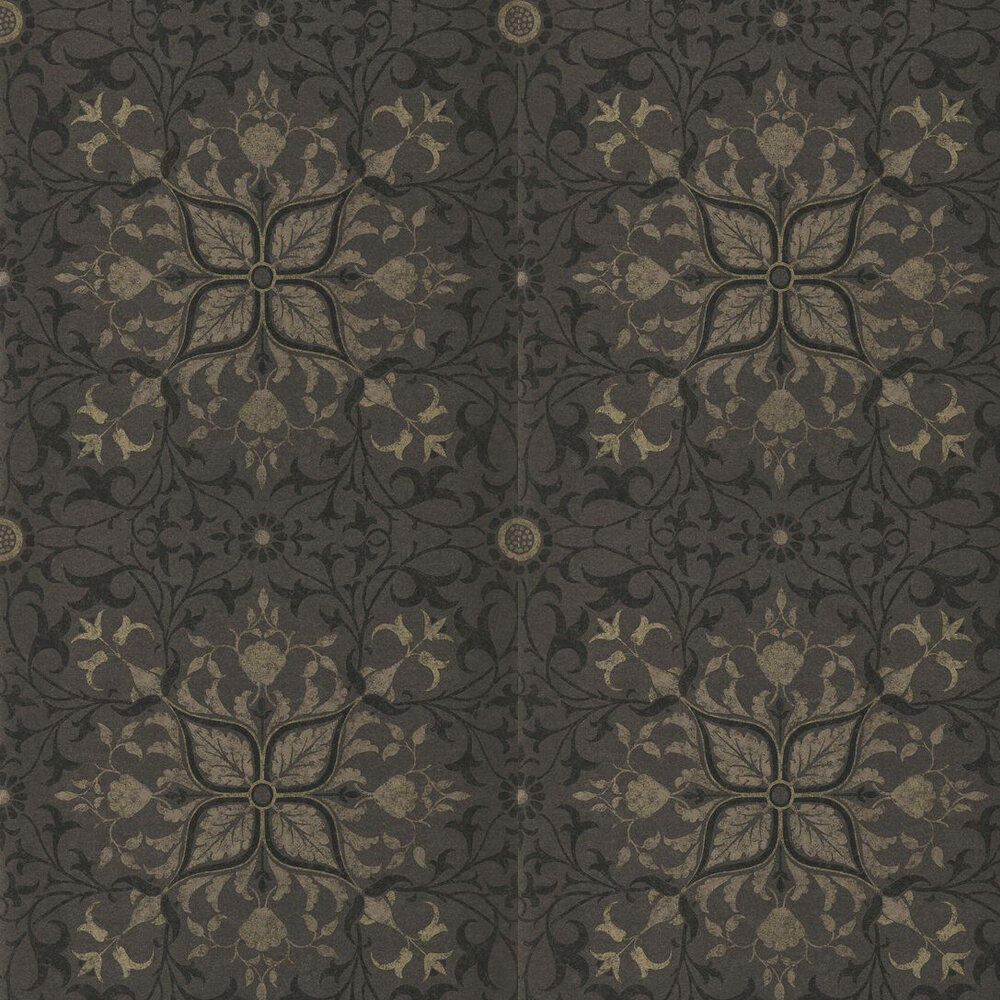Pure Net Ceiling Wallpaper - Charcoal / Gold - by Morris