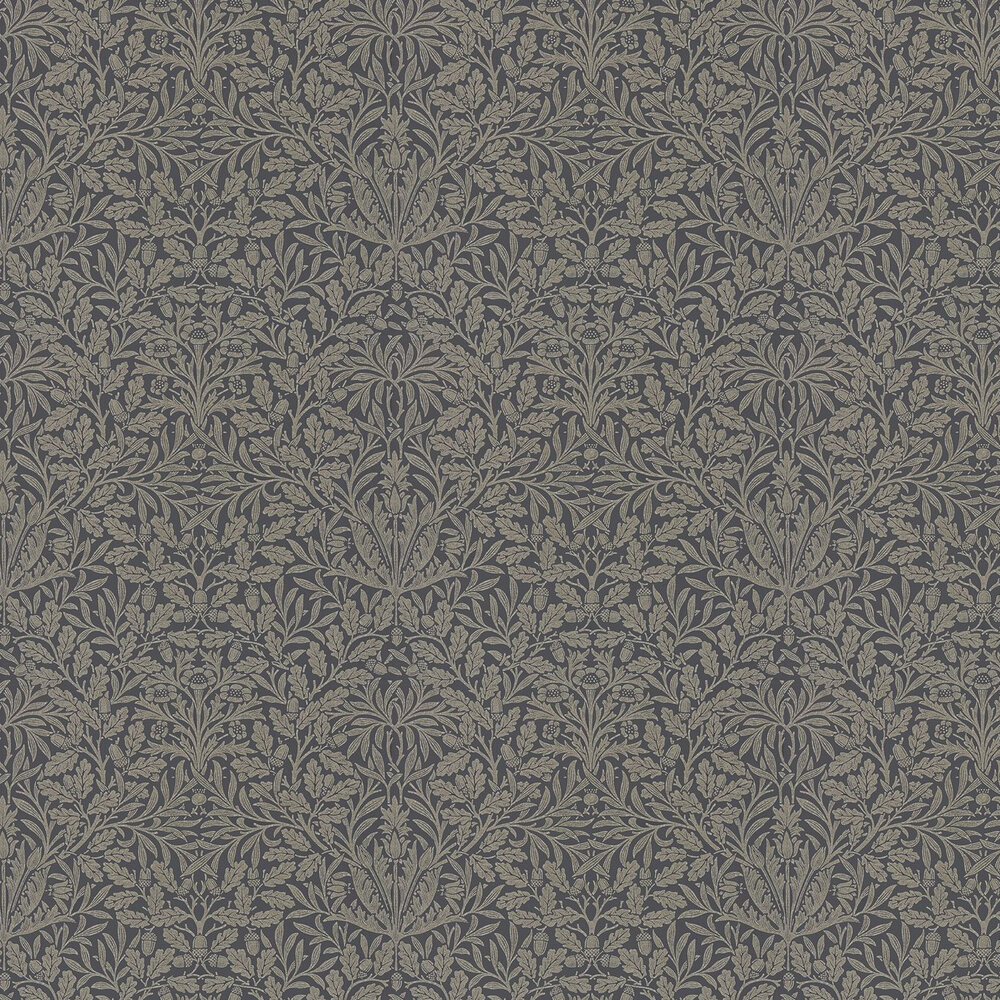 Pure Acorn Wallpaper - Charcoal / Gilver - by Morris