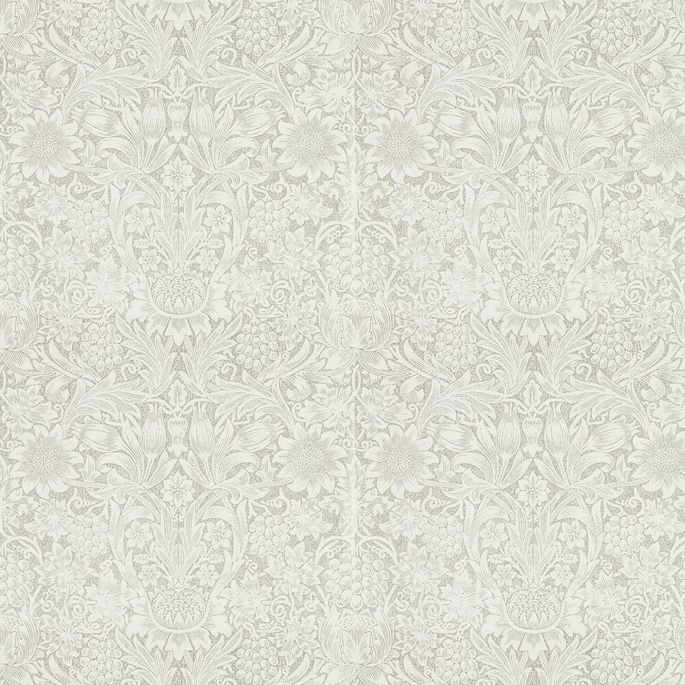 Pure Sunflower Wallpaper - Chalk / Silver - by Morris