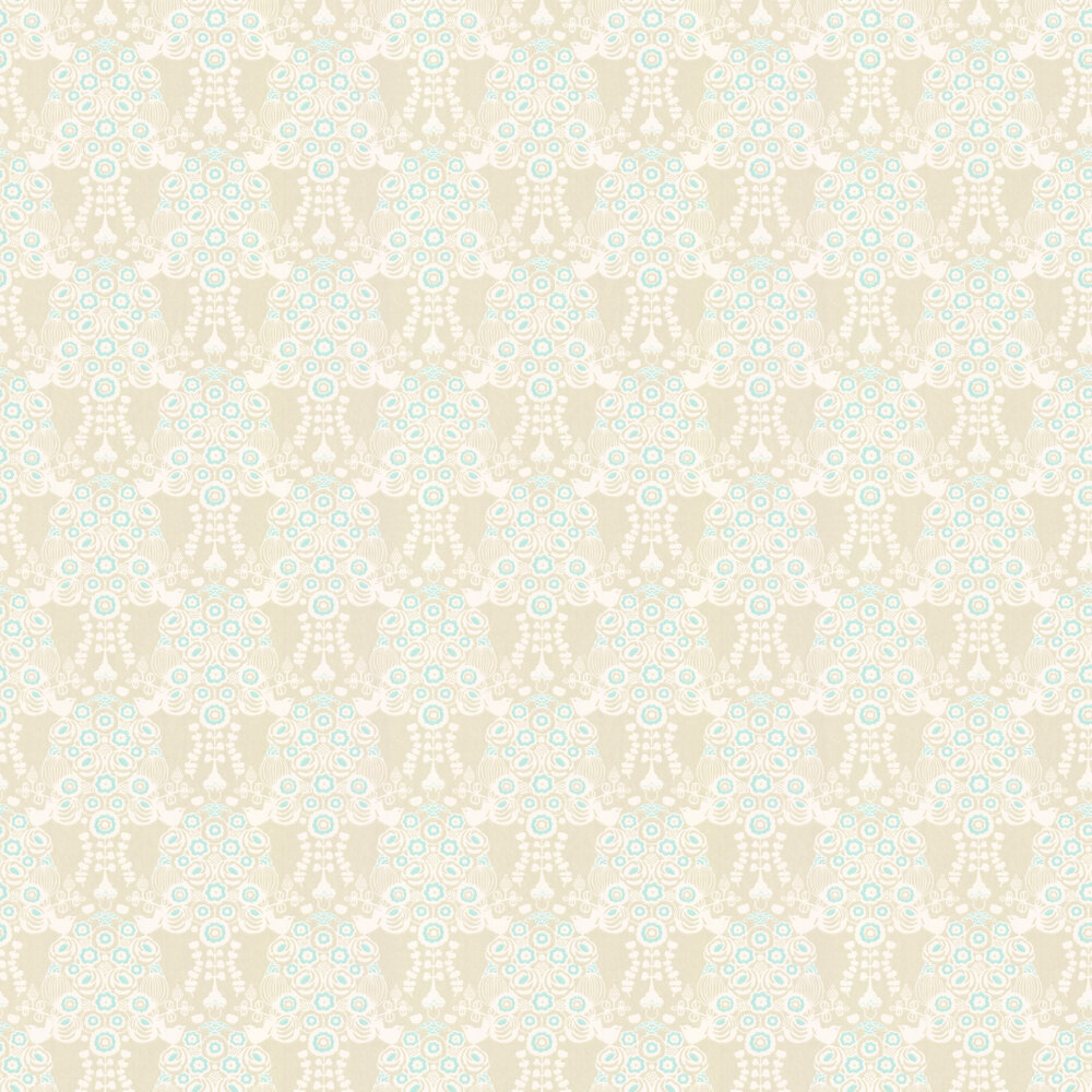 Estelle Wallpaper - Khaki and Turquoise - by Majvillan