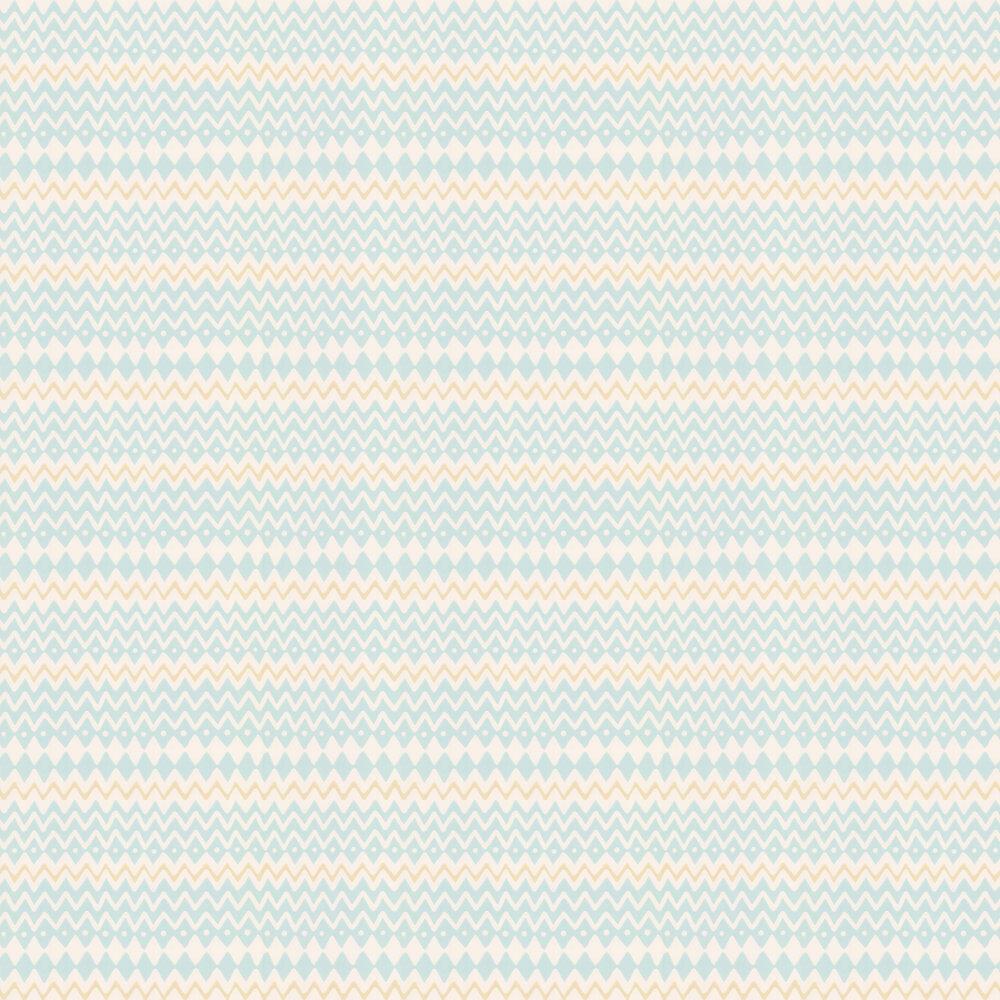 Tomoko Wallpaper - Soft Turquoise - by Majvillan