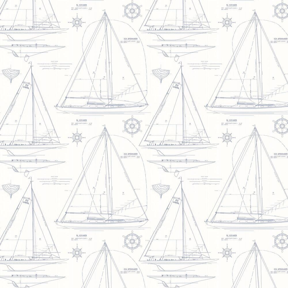 Chesapeake Novelty Wallpaper - Blue - by Ralph Lauren