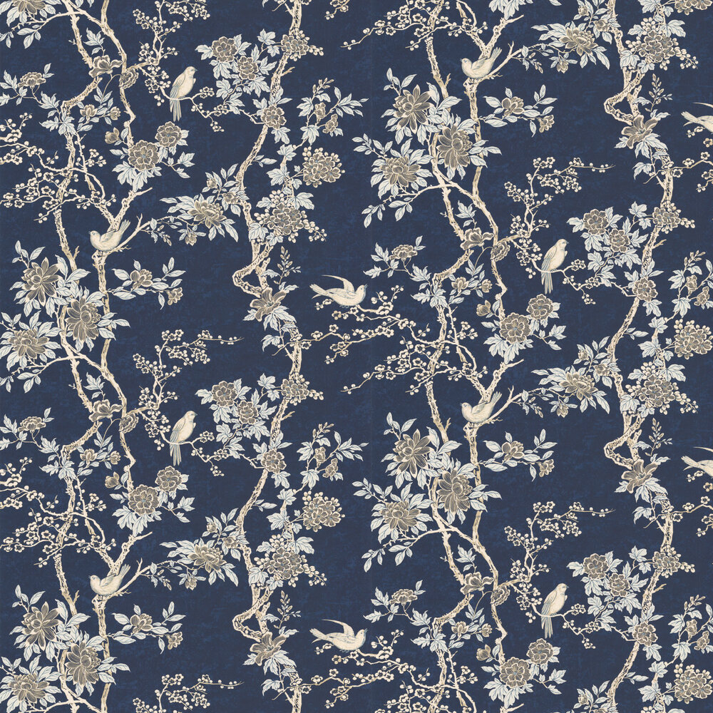 Marlowe Floral By Ralph Lauren Prussian Blue Wallpaper