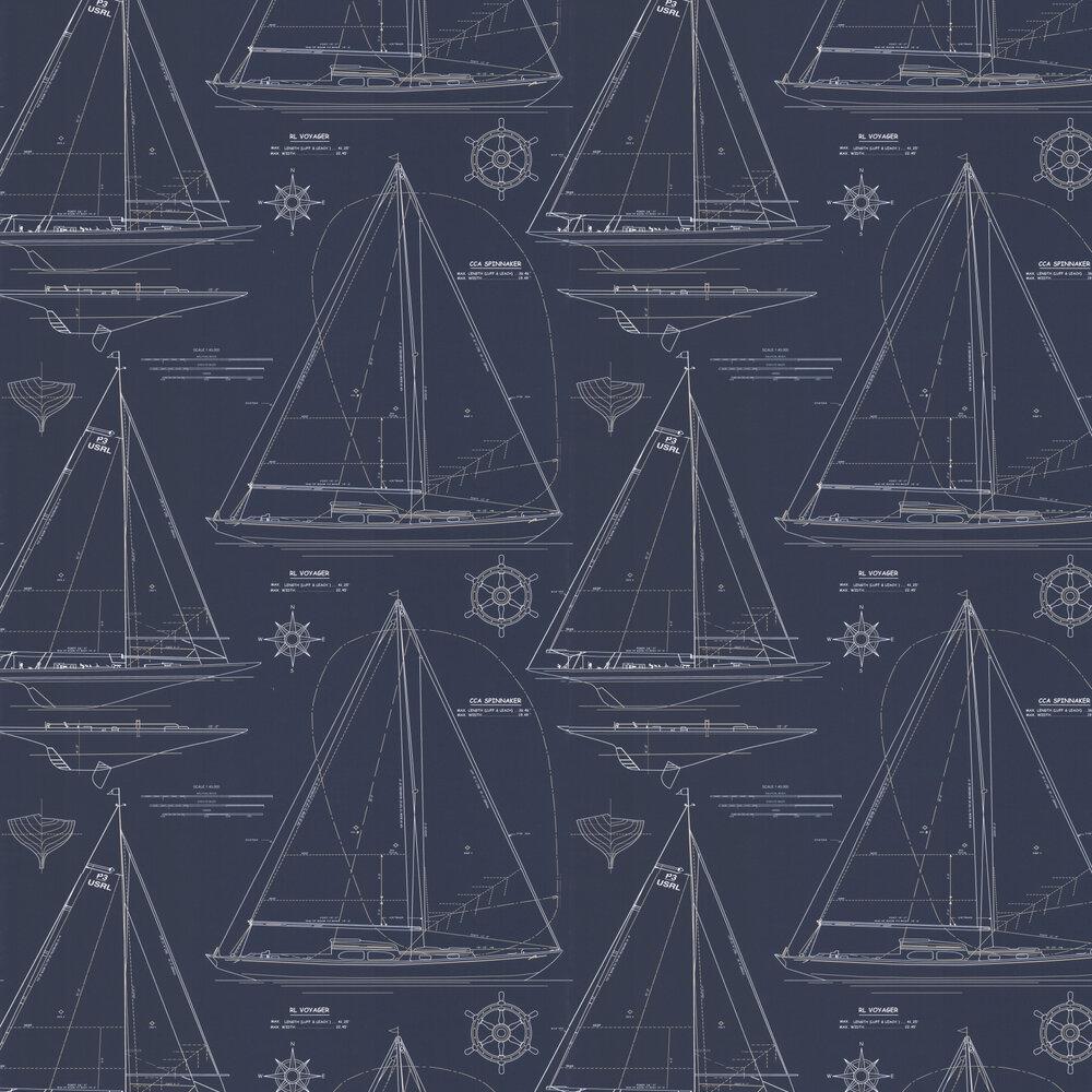 Collection Chesapeake Wallpaper - White / Navy - by Ralph Lauren