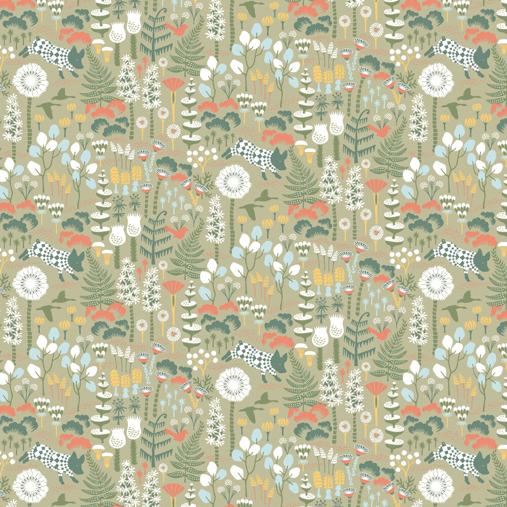 Hoppmosse Wallpaper - Green - by Boråstapeter
