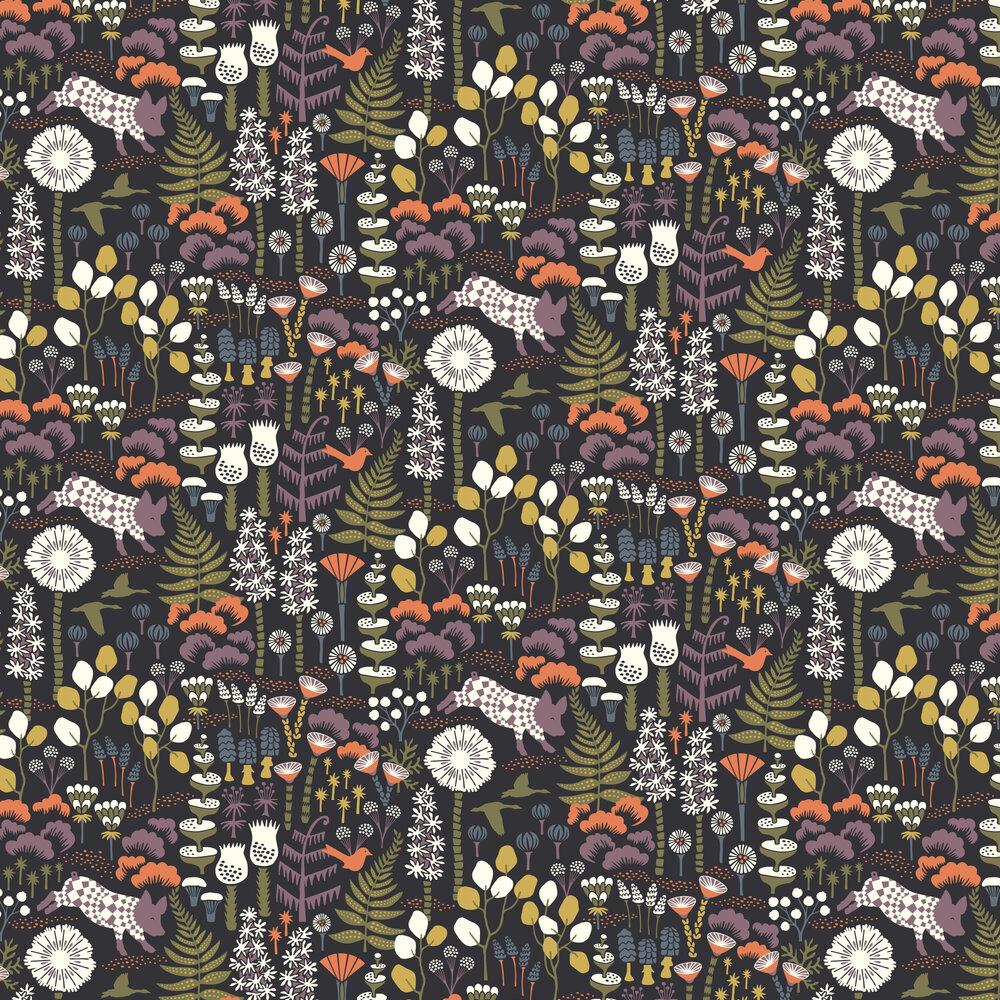 Hoppmosse Wallpaper - Black - by Boråstapeter